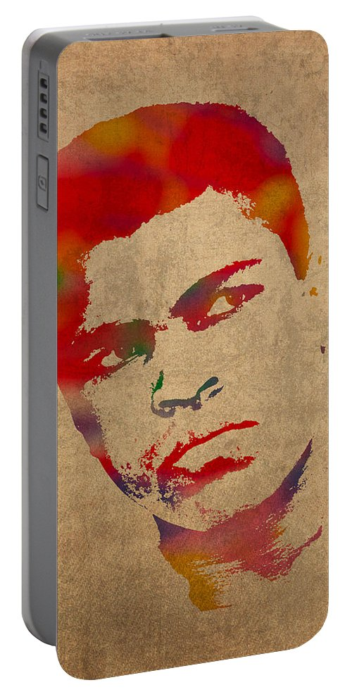 Muhammad Ali Boxer Sports The Greatest Watercolor Portrait On Worn Distressed Canvas Portable Battery Charger featuring the mixed media Muhammad Ali Watercolor Portrait On Worn Distressed Canvas by Design Turnpike