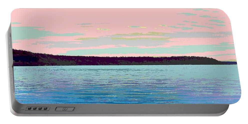 Abstract Portable Battery Charger featuring the digital art Mukilteo Clinton Ferry Panel 1 Of 3 by James Kramer