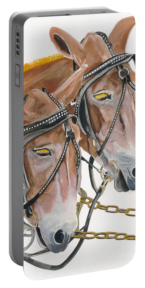 Mules Portable Battery Charger featuring the painting Mules - Two - Beast Of Burden by Jan Dappen