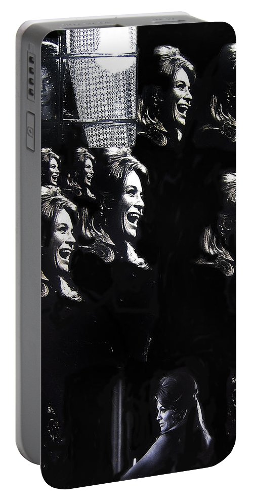 Multiple Angie Dickinson's Collage Young Billy Young Set Old Tucson Arizona 1968 Black And White Portable Battery Charger featuring the photograph Multiple Angie Dickinson's Collage Young Billy Young Set Old Tucson Arizona 1968-2013 by David Lee Guss