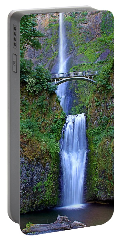 Falls Portable Battery Charger featuring the photograph Multnomah Falls by John Absher
