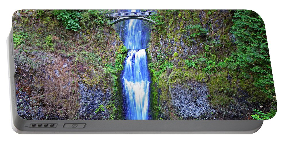 Waterfalls Portable Battery Charger featuring the photograph Multnomah Falls by Peter Tellone
