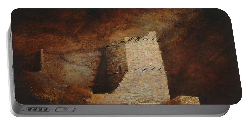 Anasazi Portable Battery Charger featuring the painting Mummy Cave by Jerry McElroy