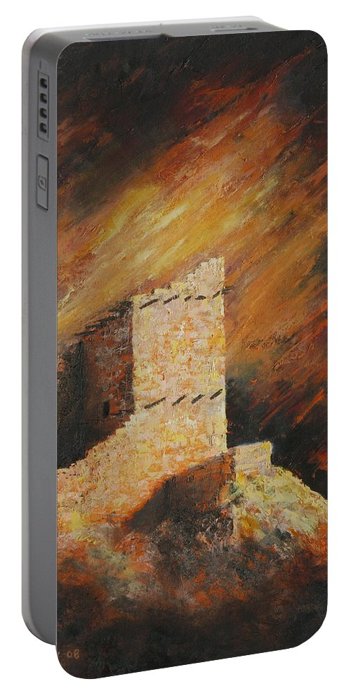 Anasazi Portable Battery Charger featuring the painting Mummy Cave Ruins 2 by Jerry McElroy
