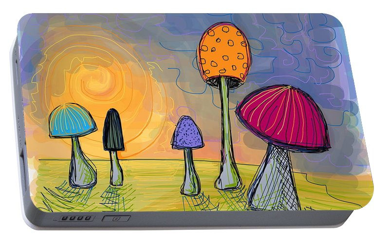 Mushrooms Portable Battery Charger featuring the digital art Mushrooms by Kate Fortin