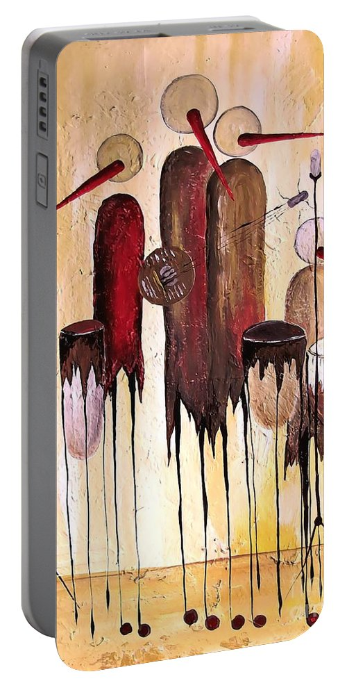 Graphic Portable Battery Charger featuring the painting Music 740 - Marucii by Marek Lutek