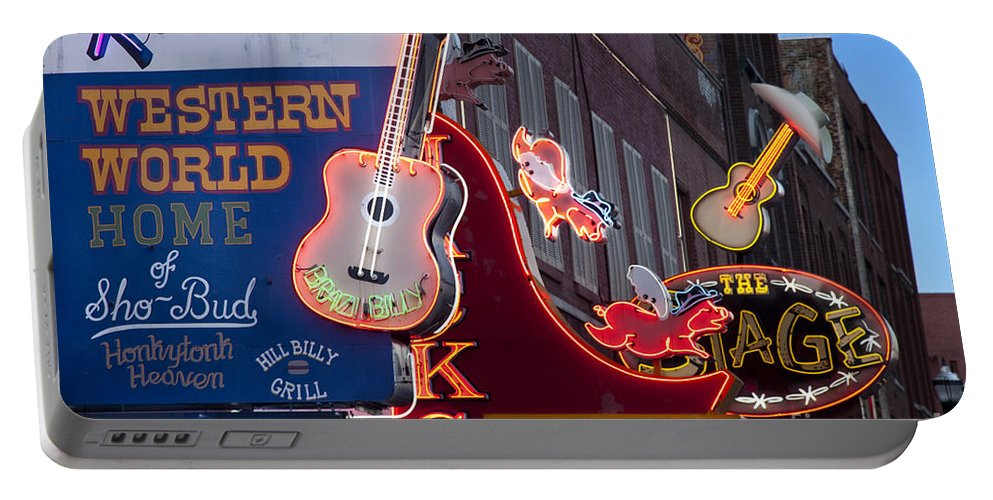 Neon Portable Battery Charger featuring the photograph Music Clubs Nashville by Brian Jannsen