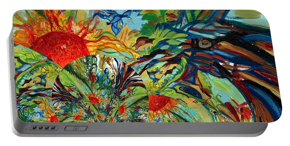 Music Portable Battery Charger featuring the digital art Music In Bird Of Tree Assymetrical by Genevieve Esson