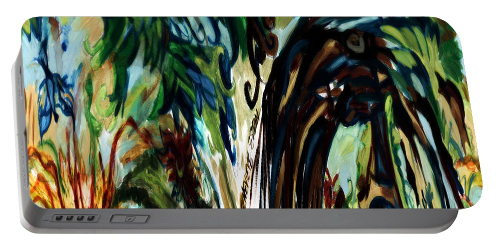 Music Portable Battery Charger featuring the digital art Music In Bird Of Tree Drip Painting by Genevieve Esson