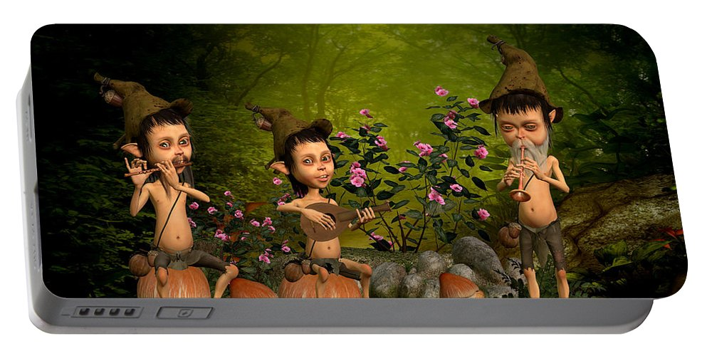 Fairy Paintings Portable Battery Charger featuring the digital art Music In The Forest by John Junek