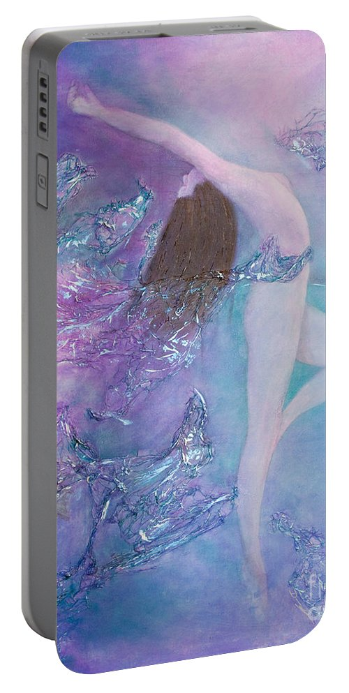 Acrylic Portable Battery Charger featuring the painting Music Only She Can Hear by Dana Kern