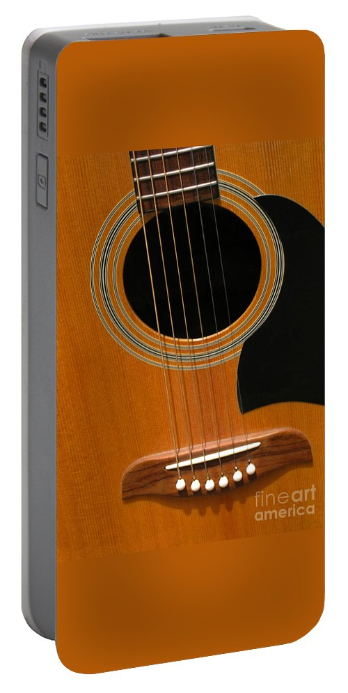 Guitar Portable Battery Charger featuring the photograph Musical Abstraction by Ann Horn