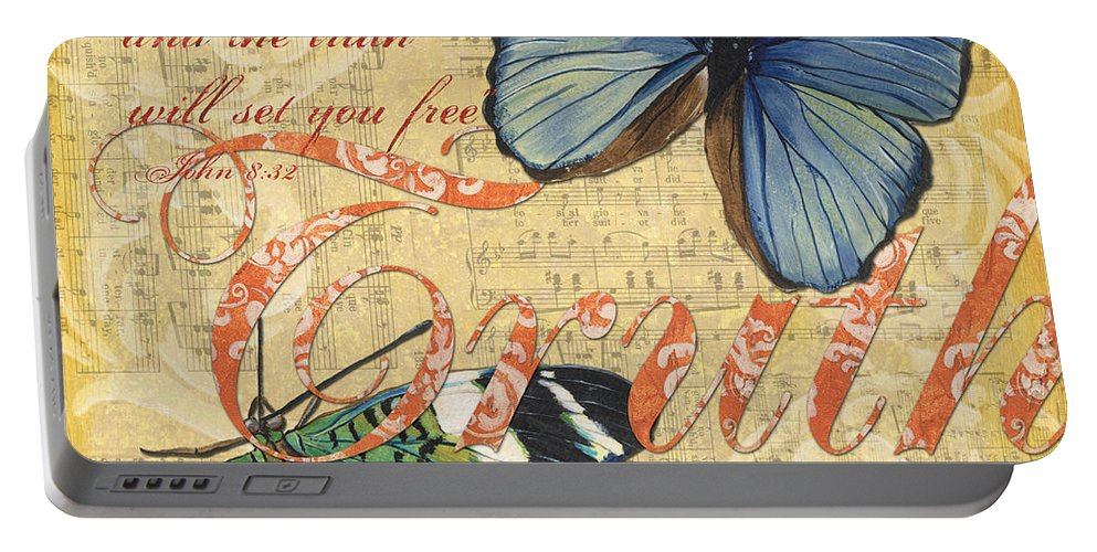 Butterfly Portable Battery Charger featuring the painting Musical Butterflies 3 by Debbie DeWitt