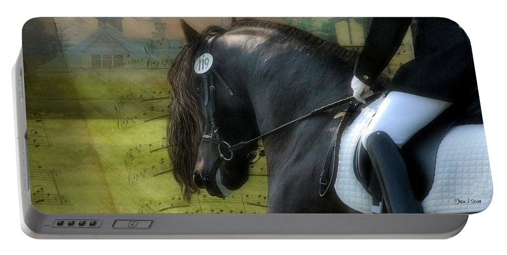 Friesian Horses Portable Battery Charger featuring the digital art Musical Freestyle by Fran J Scott