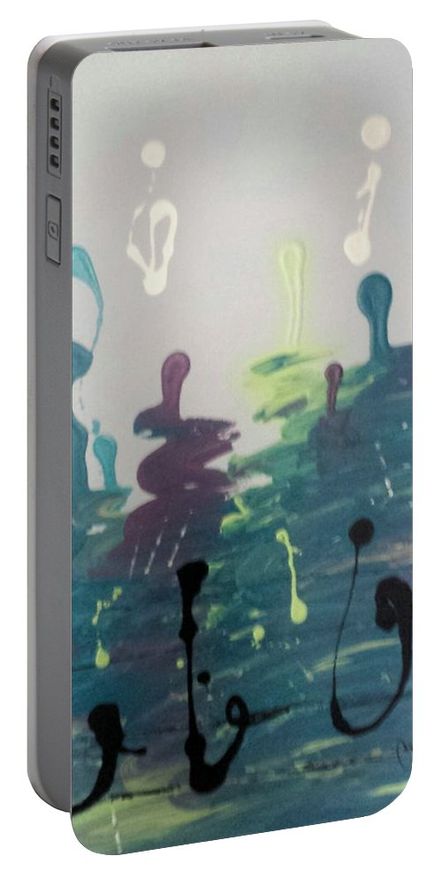 Purple Portable Battery Charger featuring the painting Musical Road by Carol Lindquist