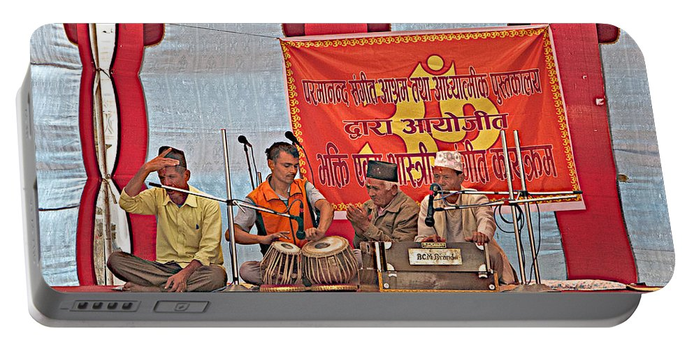 Musicians At Hindu Festival Of Ram Nawami Along The Bagmati River In Kathmandu In Nepal Portable Battery Charger featuring the photograph Musicians At Hindu Festival Of Ram Nawami In Kathmandu-nepal by Ruth Hager