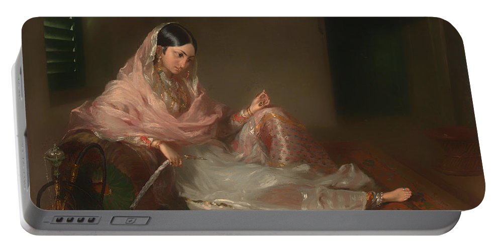Painting Portable Battery Charger featuring the painting Muslim Lady Reclining by Mountain Dreams