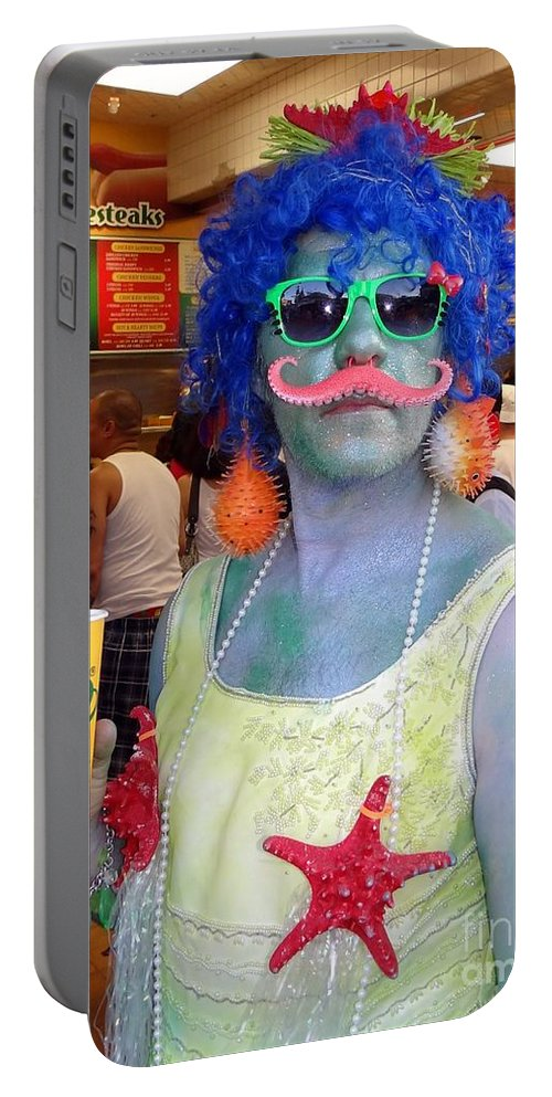 Mermaid Parade Portable Battery Charger featuring the photograph Mustache Merman by Ed Weidman
