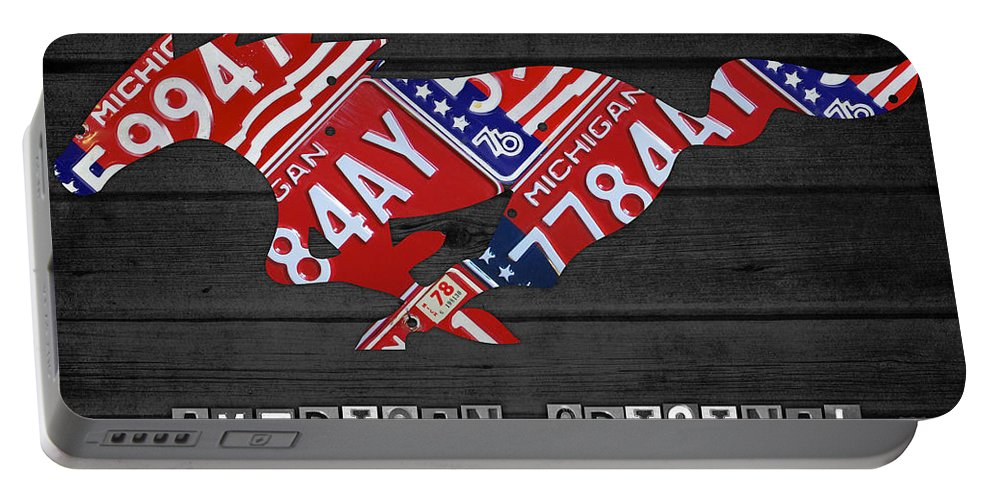Mustang Portable Battery Charger featuring the mixed media Mustang An American Original License Plate Art by Design Turnpike