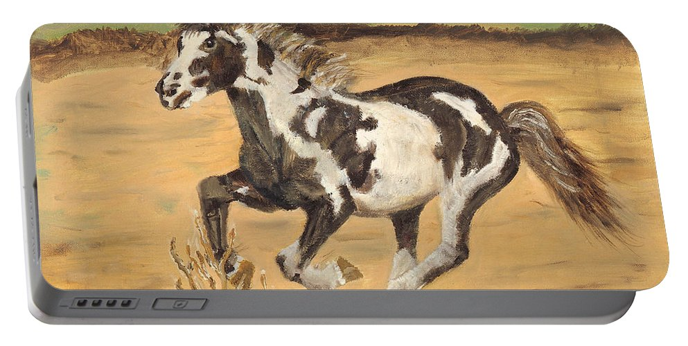 Horse Portable Battery Charger featuring the painting Mustang by Terry Lewey