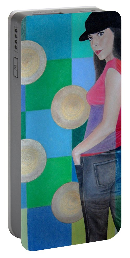 Black Cap Portable Battery Charger featuring the painting My Black Cap by Lynet McDonald