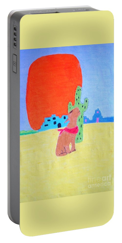 Oil Portable Battery Charger featuring the pastel My Cactus Friend And I by Lisa Byrne