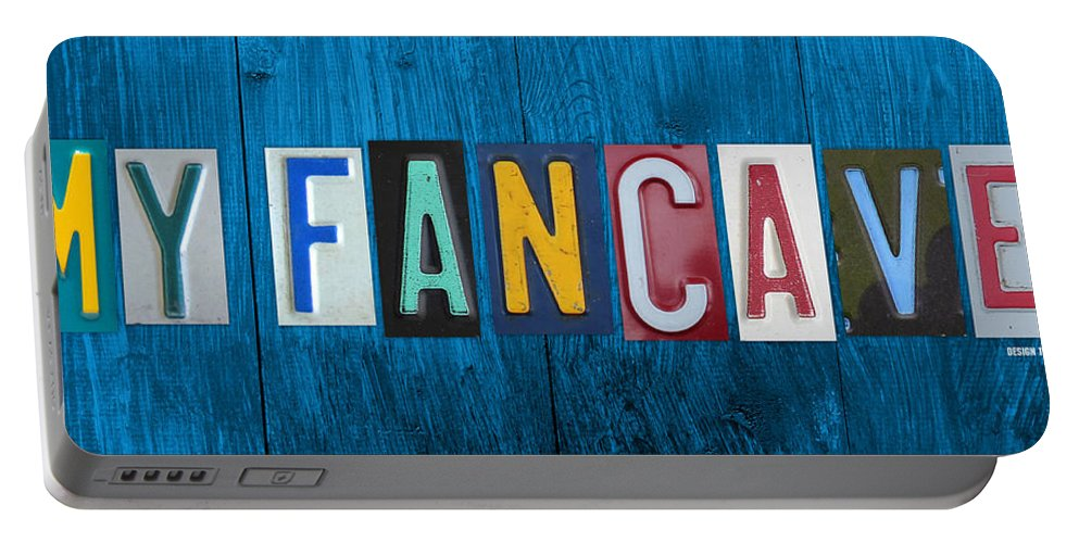 My Fancave License Plate Letter Vintage Phrase Artwork On Blue Wood Portable Battery Charger featuring the mixed media My Fancave License Plate Letter Vintage Phrase Artwork On Blue Wood by Design Turnpike