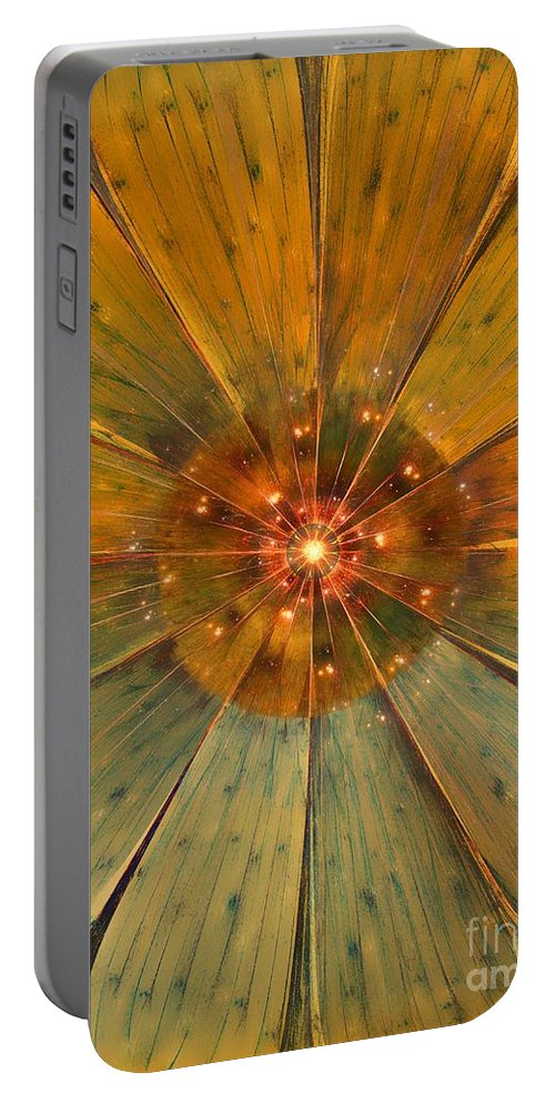 Abstract Portable Battery Charger featuring the digital art My Fantasy Flower by Klara Acel