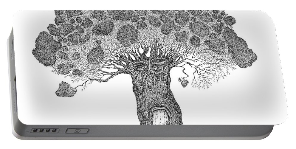 Tree Portable Battery Charger featuring the drawing My House by Andrea Currie