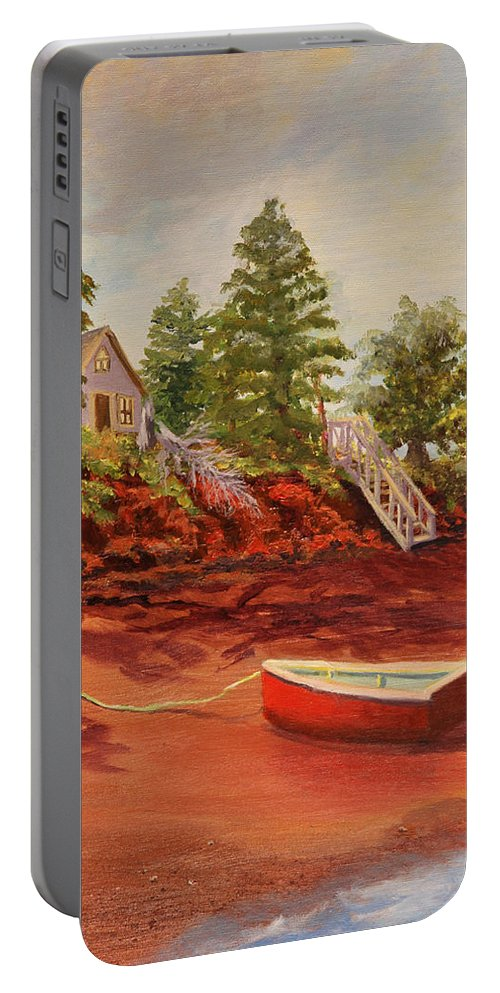 Seashore Portable Battery Charger featuring the painting My Little Red Dory by Lorraine Vatcher