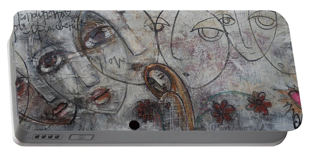 Love Portable Battery Charger featuring the painting My Love Is Unconditional by Laurie Maves ART