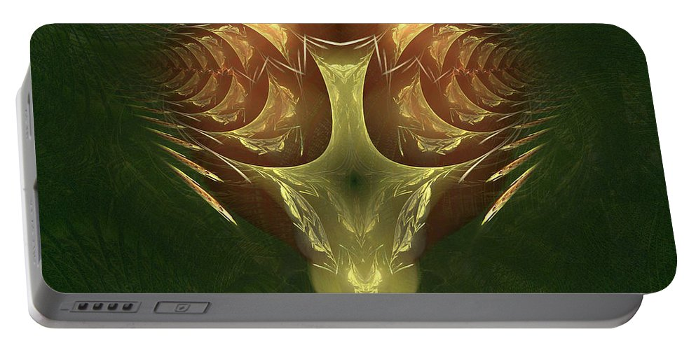 Fractal Portable Battery Charger featuring the digital art My Mechanical Mantis by Richard Ortolano