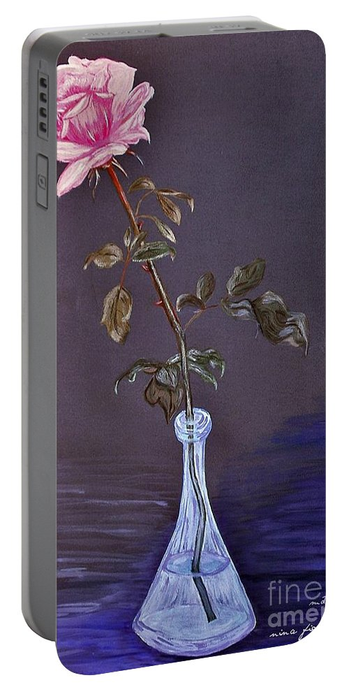 My Mothers Rose Portable Battery Charger featuring the photograph My Mothers Rose by Nina Ficur Feenan