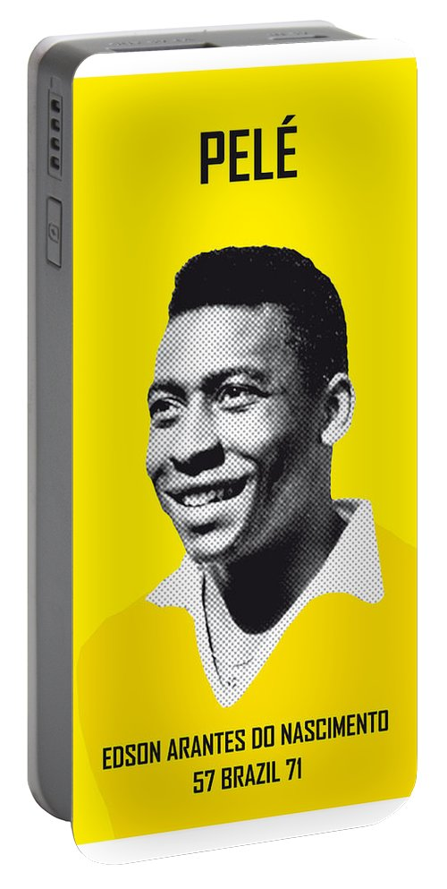 Beckenbauer Portable Battery Charger featuring the digital art My Pele Soccer Legend Poster by Chungkong Art