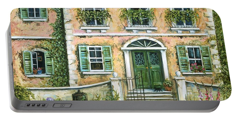 Europe Portable Battery Charger featuring the painting My Pink Italian Villa by Marilyn Dunlap