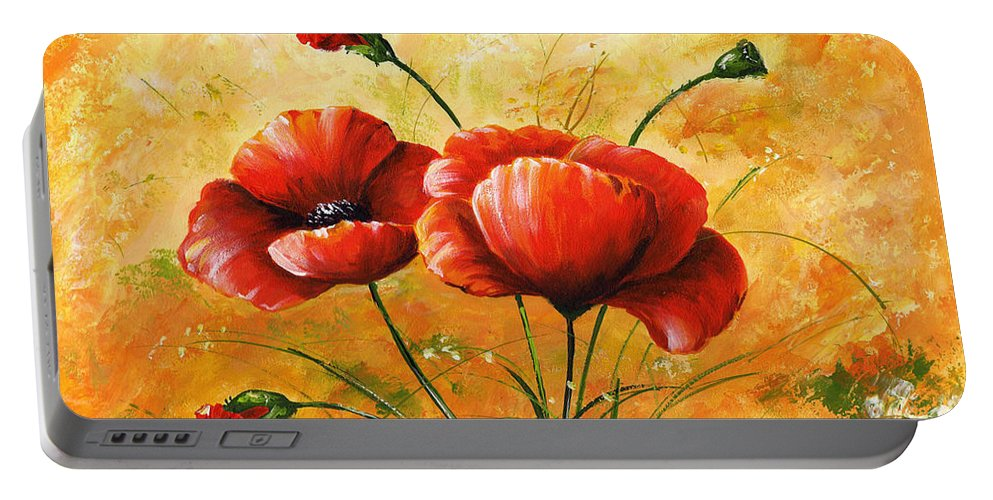 Art Portable Battery Charger featuring the painting My Poppies 047 by Voros Edit