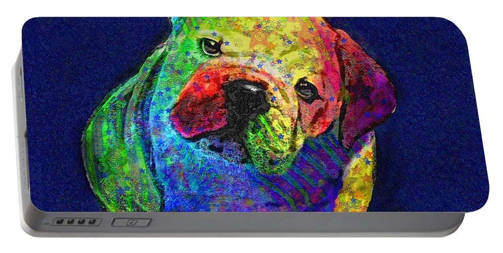 Jane Schnetlage Portable Battery Charger featuring the digital art My Psychedelic Bulldog by Jane Schnetlage