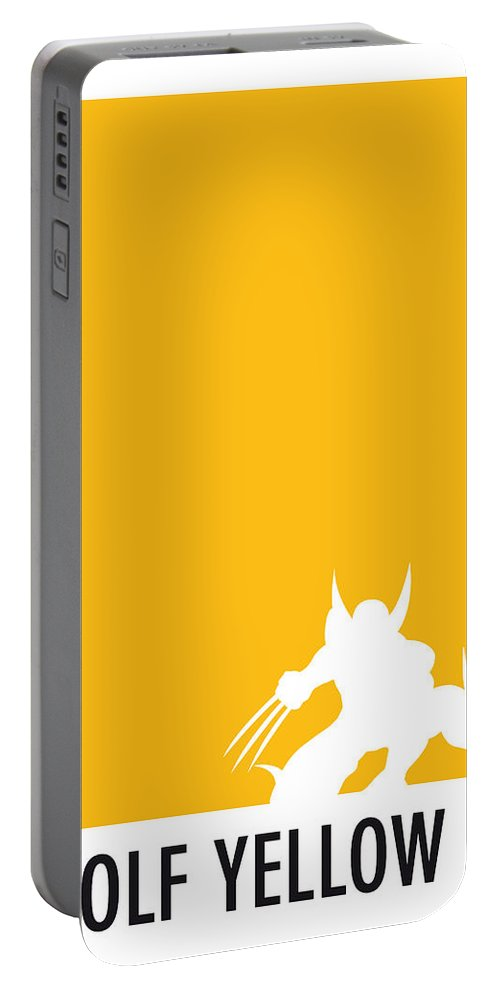 Superheroes Portable Battery Charger featuring the digital art My Superhero 05 Wolf Yellow Minimal poster by Chungkong Art