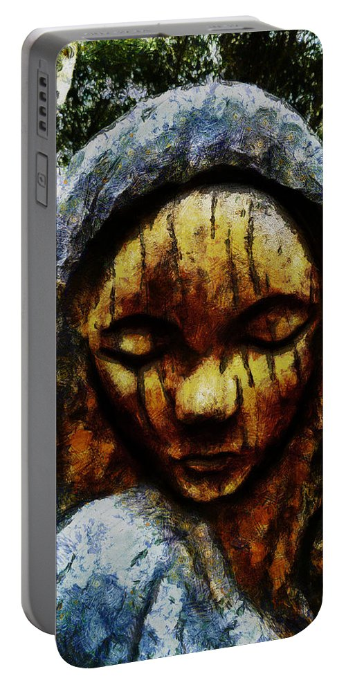 Sadness Portable Battery Charger featuring the digital art My Tears Fall From The Sky by Steve Taylor