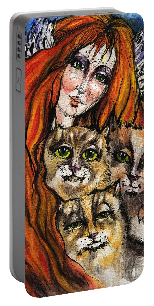 Angel Portable Battery Charger featuring the painting My Three Cats by Angel Ciesniarska