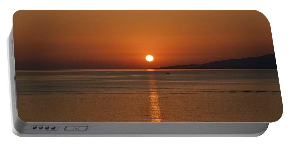 Sunset Portable Battery Charger featuring the photograph Mykonos Sunset by Corinne Rhode