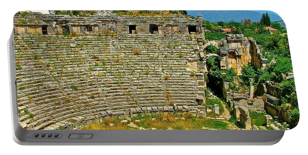 Myra's Roman Theater From Fourth Century Portable Battery Charger featuring the photograph Myra's Roman Theatre In Fourth Century-turkey by Ruth Hager