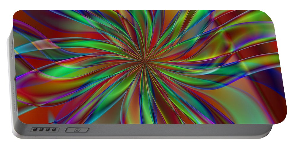 Floral Portable Battery Charger featuring the digital art Myriad Mum by Kiki Art