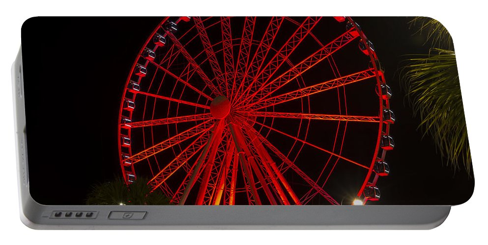 Sky Wheel Portable Battery Charger featuring the photograph Myrtle Beach Sky Wheel by Pat Walsh