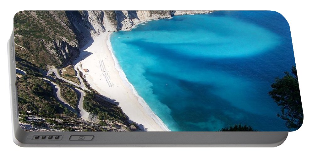 Beach Portable Battery Charger featuring the photograph Myrtos by Nick Mosher