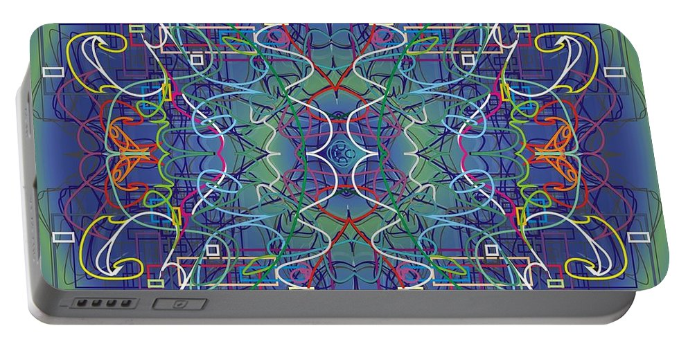 Mysl Portable Battery Charger featuring the digital art mYSL / tHE tHOUGHT by WouX