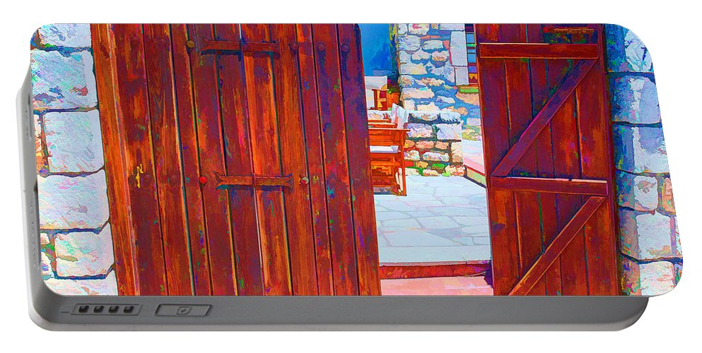 Greece Portable Battery Charger featuring the digital art Mysterious Courtyard by Roy Pedersen