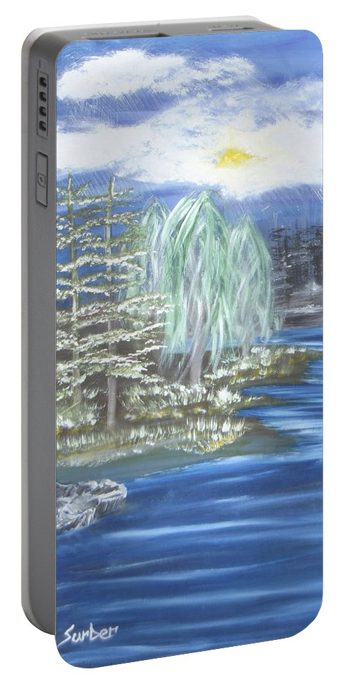 Trees Portable Battery Charger featuring the painting Mysterious Trees by Suzanne Surber