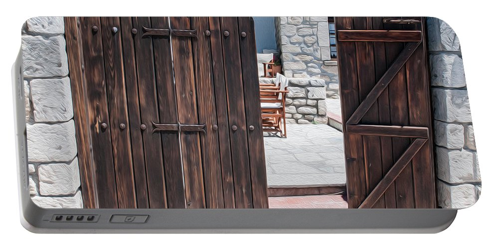 Greece Portable Battery Charger featuring the digital art Mystery Courtyard by Roy Pedersen