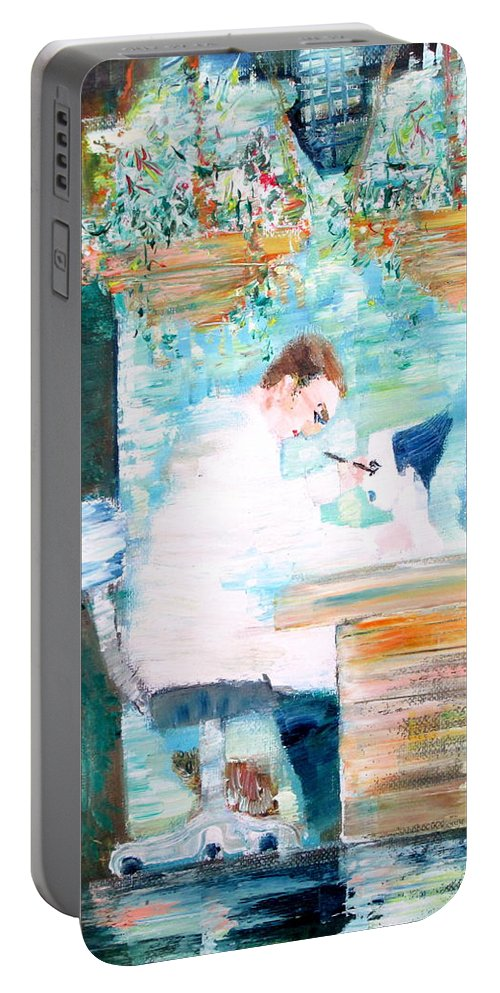Man Portable Battery Charger featuring the painting Mystery Experience by Fabrizio Cassetta